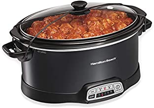 Hamilton Beach Programmable Slow Cooker with Three Temperature Settings, 7-Quart + Lid Latch Strap, Black