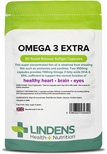 Lindens Omega 3 Extra Fish Oil 1000mg Capsules   90 Pack   1100mg Omega 3 Fatty Acids Dha & Epa Per 3 Capsules and Supports Normal Function of Healthy Heart, Brain & Eyes