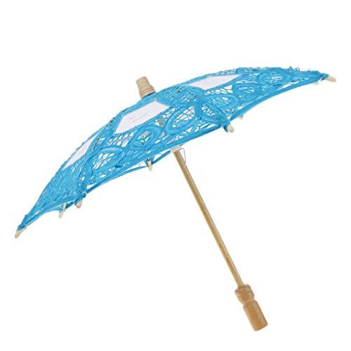 LOVIVER Handgemachte Regenschirm Brautschirm Hochzeitsschirm Sonnenschirm für Damen Braut - Blau