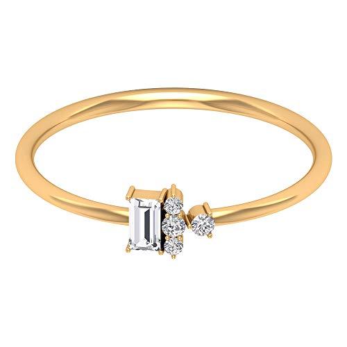 Rosec Jewels - 14 Kt Gelbgold Runder Brilliantschliff Baguetteschliff Leicht Getöntes Weiß/Top Crystal (I) Diamant