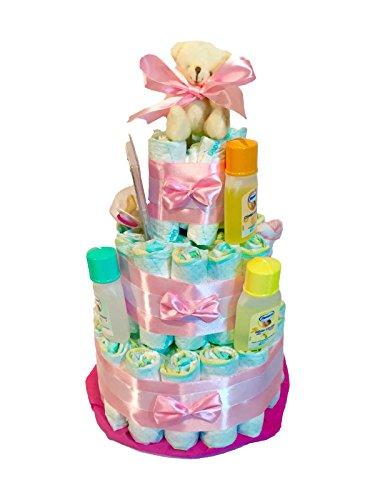 Windel-Torte Dodot besondere + Schnuller + Nenuco Lätzchen pink