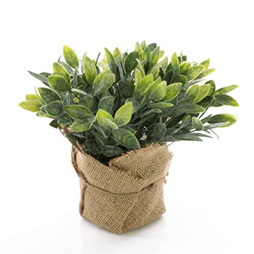 artplants.de Salvia Artificiale Vitus in sacchettino di Juta, Verde-Bianco, 20cm - Erba aromatica Finta/Pianta Verde
