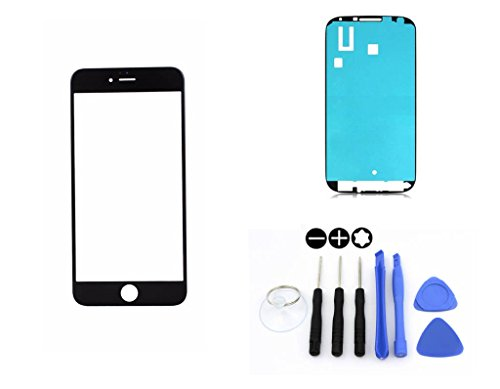 R.P.L. FRONTGLAS SET passend für SAMSUNG Galaxy iPhone 6 6S Plus Schwarz Black / Frontglas / Glas / Displayglas / LCD Reparatur / LCD Display / Klebefolie / Glass Replacement / 8 - Teiliges Werkzeugset TOOLS