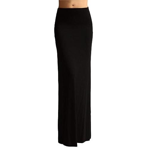 bd97c622b8273 Azules Women S Rayon Span Maxi Skirt - Black 2X