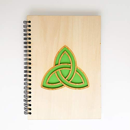 Celtic Irish Wooden Spiral Notebook With Pencil, Dad Gifts, Gifts For Men, Notebook Journal, Notebooks For Work