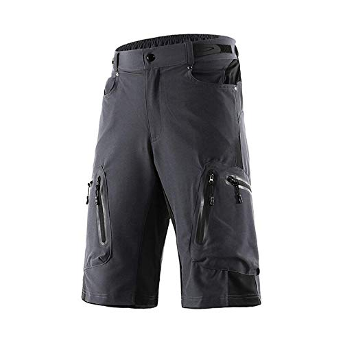 Pantalones Cortos De CiclismoRápido Seco Impermeable Cremallera Deportes Pantalones Deportivos Ciclismo MTB Shorts Bicicleta Bolso Pantalones Cortos Transpirable (Size:XL; Color:Grey)