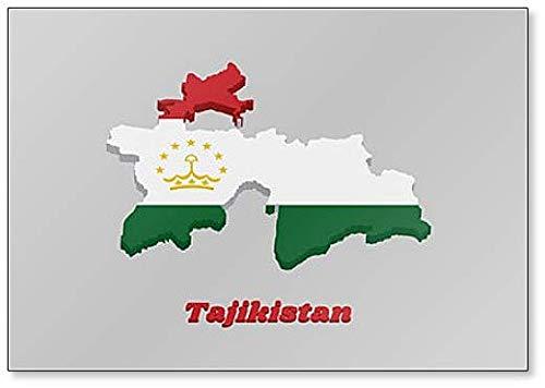 Kühlschrankmagnet, Motiv Karte & Flagge von Tadschikistan