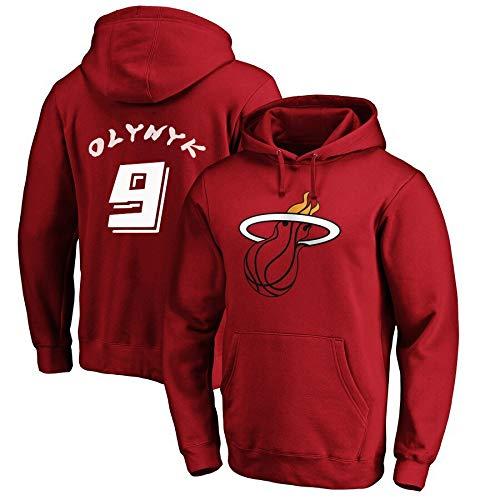 YUUY El Sudor de Baloncesto con Capucha-Kelly Olynyk # 9 Miami Heat Bolsillo Grande con Capucha de los Hombres de Moda Recuerdos S-3XL (Color : Red, Size : X-Large)