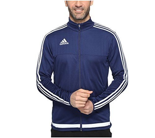 adidas Men's Soccer Tiro 15 Training Jacket, Dark Blue/White/Dark Blue, X-Large