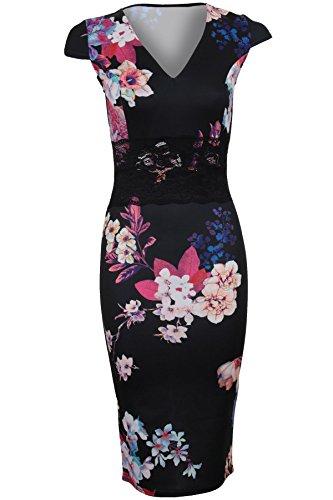 Sapphire TIENDA Mujer cuello en V Manga Japonesa Floral Flor Detalle De Encaje Vestido Ceñido Elástico Vestido a media pierna - Negro, UK 10