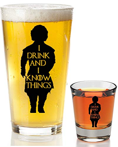I Drink And I Know Things Beer Glass With Complimentary Shot Glass - Game Of Thrones Merchandise | Tyrion Lannister Funny Novelty Mug