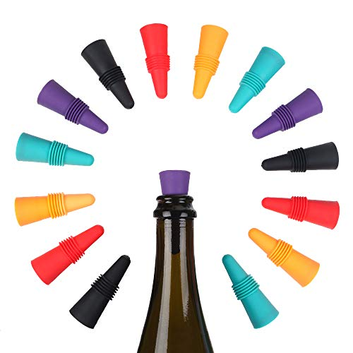 Wine Bottle Stoppers,15 Pack Reusable Silicone Beverage Bottle Stoppers Decorative Bottle Sealer for Champagne Wine Saver ,5 Colors Mixed Wine Stoppers with Grip Top