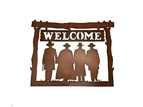 Welcome Sign with Doc Holliday and Wyatt Earp Tombstone Scene OK Corral made out of Rusted Steel
