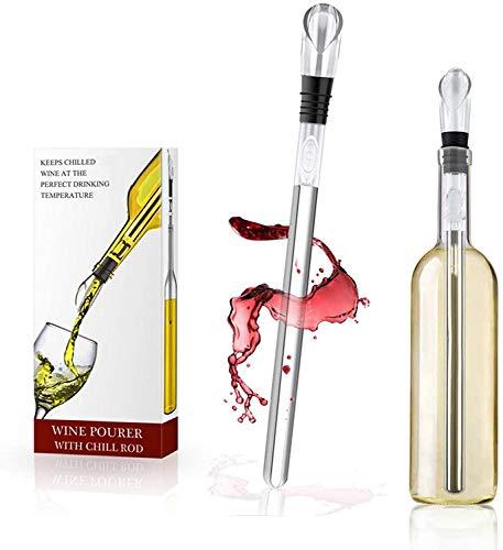 Enfriador de Botellas de Vino Barra - Con Varilla de Enfriamiento Enfriador Vino 3 en 1 de Acero Inoxidable,Aereador y Vertedor - Para Amantes del Vino Regalo Perfecto.