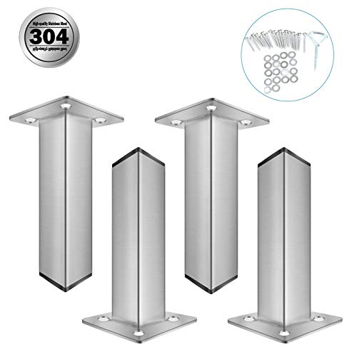 POPMOON 6' Chrome Metal Furniture Legs Cabinet Table Sofa Bed Feet Rectangle Sofa Legs Feet Verified Lab Test Supports up to 1200 pounds
