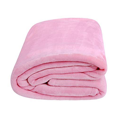 Deconovo ひざ掛け ブランケット フランネル毛布 大判サイズ 100x140cm ピンク