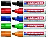 edding 4-800999 800 - Rotulador permanente (recargable, 4 - 12 mm, 5 unidades), varios colores