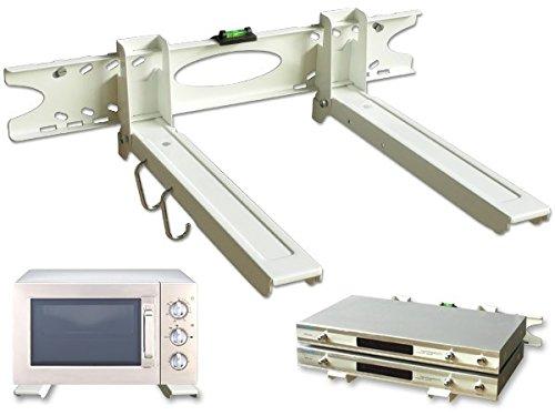 DRALL INSTRUMENTS Ausziehbare Mikrowellen Wandhalterung 32-52 cm belastbar bis 20 kg - Halter für Pizzaofen Backautomat Mini-Ofen mit Befestigung weiß Modell: H75W