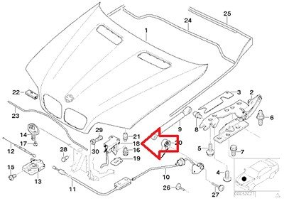 BMW Genuine Hood Safety Catch with Hood Release for X5 3.0i X5 4.4i X5 4.6is