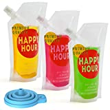 30 Pcs Drink Pouches for Adults Plastic Flask Reusable Disposable Drink bags with Funnel (16 oz)