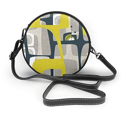 Umhängetasche mit Radio auf einer Fensterbank, klein, rund, Umhängetasche, Umhängetasche, Tragetasche, klassisch, stilvoll, Kreis-Handtaschen