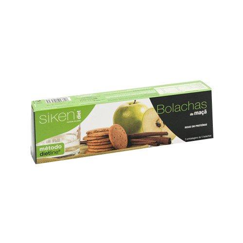 SIKEN Diet - Galletas de manzana. Estuche de 3 paquetes con 5 galletas cada uno. 152 kcal/4 galletas.