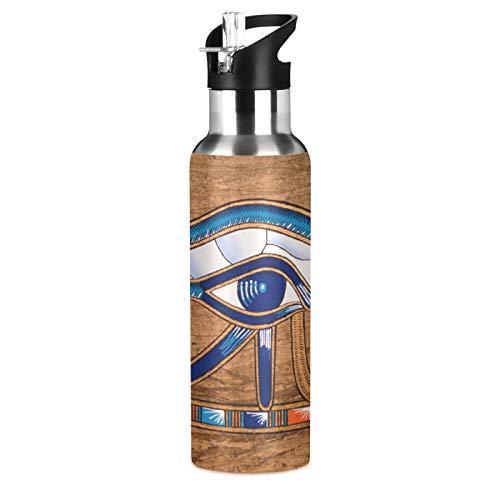 BGIFT Botella de agua egipcia Horus Eye con tapa de pajita, aislada al vacío, taza termo de acero inoxidable, botella de agua de 20 onzas para deporte, bicicleta, fitness, senderismo