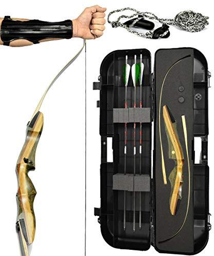 Spyder XL Takedown Recurve Bow - Ready 2 Shoot Archery Set   Includes Bow, Instructions, Premium Carbon Arrows, Recurve Bow Case, Stringer Tool, Armguard, 55 lb RH -Green