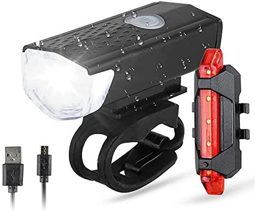 ZJDM Juego de Luces para Bicicleta, Luces de Bicicleta Recargables USB, Luces Delanteras Impermeables IPX6 y Luces traseras LED traseras, 3 Modos de luz para Todas Las Bicicletas, montaña, carret