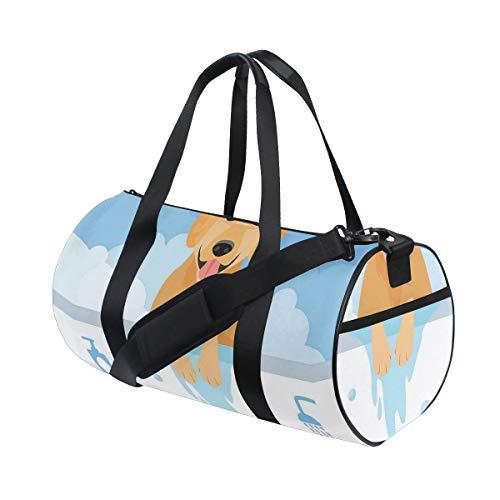 ZOMOY Sporttasche,Hundewaschende Badewannen Karikatur Schaum Seifen Hygiene,Neue Bedruckte Eimer Sporttasche Fitness Taschen Reisetasche Gepäck Leinwand Handtasche
