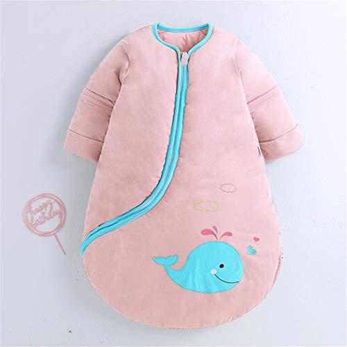 Saco de Dormir para Bebé Bebé cómodo suave gruesa manta caliente de empañar alineados plástico Saco de dormir con mangas desmontables Saco de Dormir para Niños Pequeños ( Color : Verde , Size : 80cm )