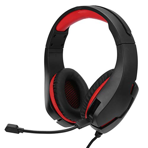 Sutinna Ergonomic Headset Protein Leather Earmuffs Head‑Mounted Earphone Computer Headset for PC Computer, Laptop, Tablet, Phone(Black red)