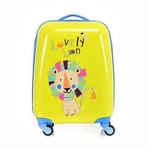 BONTOUR Valigia per Bambini con 4 Ruote, Carrello con Figure di Cartone Animato per Ragazzi e Ragazze (Leone)