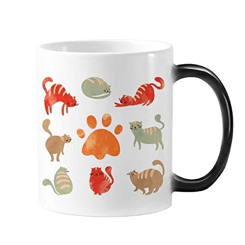 DIYthinker beschermen dier huisdier liefhebber Cartoon veel schattig kat voetafdruk morphing warmte gevoelig veranderen kleur mok Cadeau melk koffie met handvatten 350 Ml