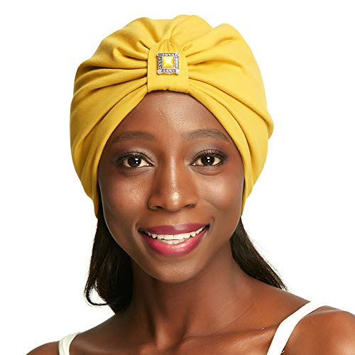 Pretied Head Wraps Turbantes for Women Silk Satin Lined Yellow