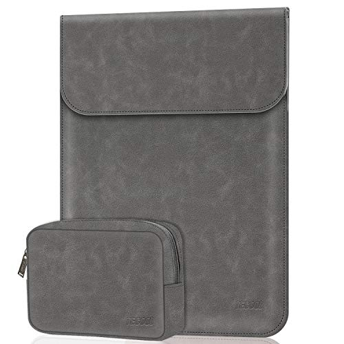 TECOOL 12 Pollici Sleeve per Custodie PC Portatili con borsa accessori in Ecopelle Borsa Computer per Macbook 12, ASUS Cloudbook 11.6, Samsung Galaxy Book 12, Grigio