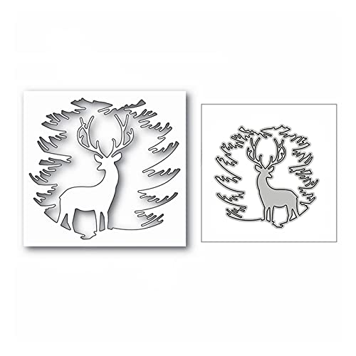 LHZUS Christmas Forest Reindeer Metal Cutting Dies for DIY Scrapbooking Decorative and Card Making Embossing Craft