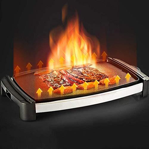 415lrrFnHsL - Logo 1800W elektrischer Teppanyaki Grill, Smokeless Antihaft-Barbecue-Maschine, gegrilltes Fleisch Pfanne mit Kochplatte, for Tisch Camping im Freien Garten-Grill Grillzubehör