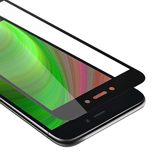 Cadorabo Película Protectora para Xiaomi RedMi GO en Transparente con Negro - Pantalla de Vidrio Templado Cobertura Completa (Tempered) Compatible 3D con Dureza 9H