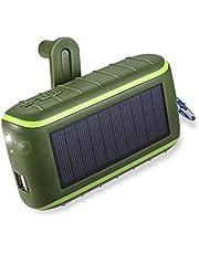 Workingda Solladdare, 10 000 mAh bärbar handvev-telefonladdare 2 USB-portar solenergi bank med LED-ficklampa, karbinhake