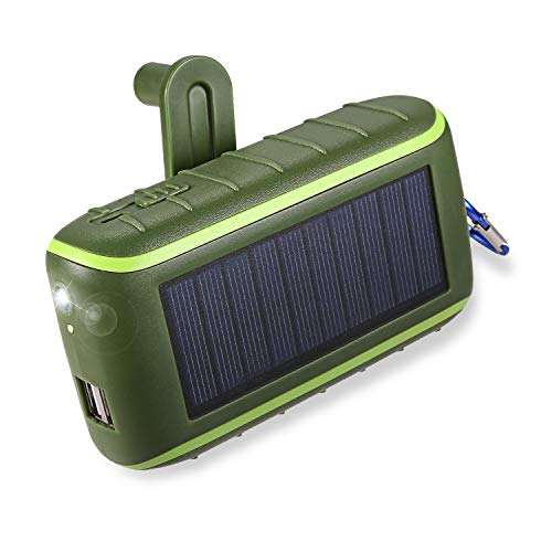 Workingda Powerbank Solar Ladegerät, 10000mAh Externer Akku Kurbel Generator mit Dual USB Ausgängen und Taschenlampe für Handys, iPad, Kamera(Grün)