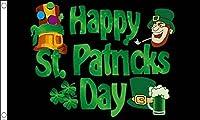 Happy St Patricks Day Black Leprechaun Flag - Large 5 x 3' (150cm x 90cm) - Irish Ireland [並行輸入品]