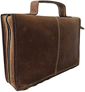 Universal Genuine Buffalo Leather Classic Bible Cover Carry Case Book Holder Cover with Back Pocket & Handle Fits for Standard Size Folder Vintage Looks Rustic Brown Organizer Gift for Men & Women