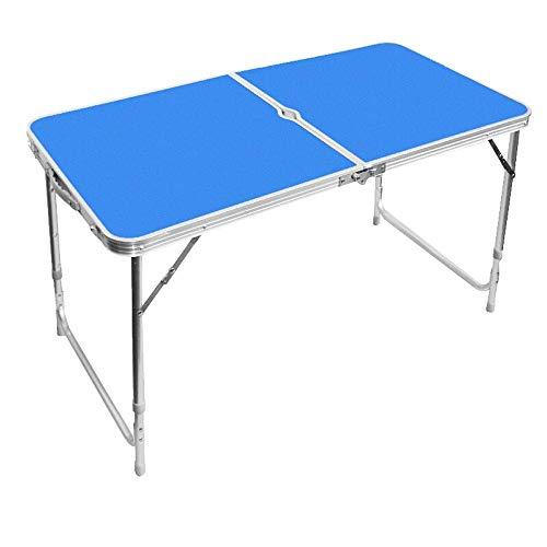 NBVCX Hausrenovierung Klappcampingtisch Outdoor Center Klapptisch Set mit Schirmloch und 4PCS Stühlen Tragbares Picknicktischset Höhenverstellbar (Farbe: Blau Größe: 1 Stück)