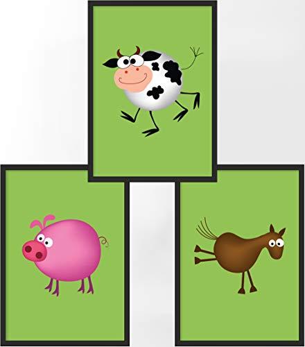 Kinderposter 3er-Set | 3X DIN A4 Poster | Jungen & Mädchen | Kunstdruck fürs Kinderzimmer | Motiv: Bauernhof