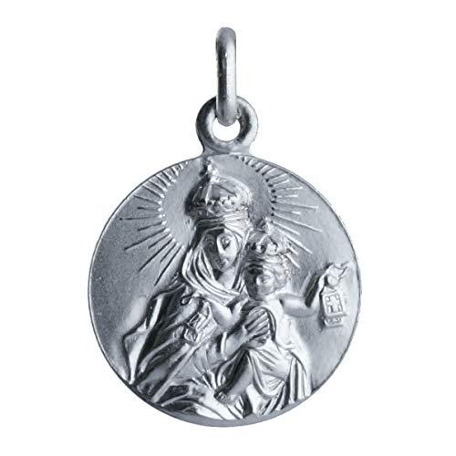 SACRE COEUR - Medalla Sagrado Corazón y Vírgen del Carmen | Escapulario Dos Caras | Plata Primera Ley | 20 mm
