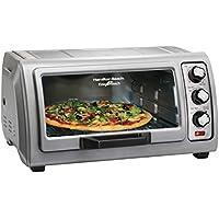 Hamilton Beach 6-Slice Countertop Toaster Oven with Easy Reach Roll-Top Door, Bake Pan (31127D) (Silver)