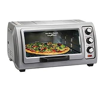 Hamilton Beach 6-Slice Countertop Toaster Oven with Easy Reach Roll-Top Door Bake Pan Silver  31127D