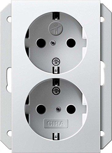 Gira 273527 dubbele veiligheidsbescherming voor kinderen, voor 1 1 2-voudige doos systeem 55, zuiver wit mat