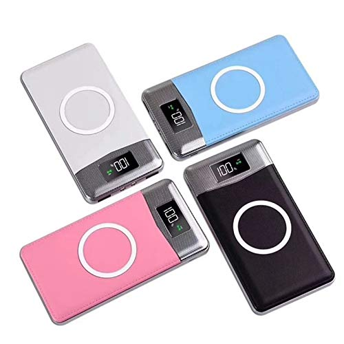 Qi Wireless Power Bank 20000mAh LCD Digital Display Power Dual LED Flashlight External Battery for iPhone/Samsung/Huawei (Color : Black)